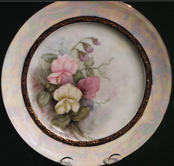 Sweet Peas and Luster Plate by Anne Millar