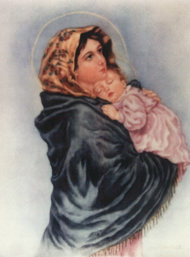 Portrait of Mother and Child painted by Janet DeSmet