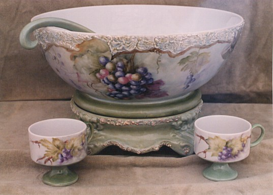 Punch Bowl Set Painted by Madonna Saville