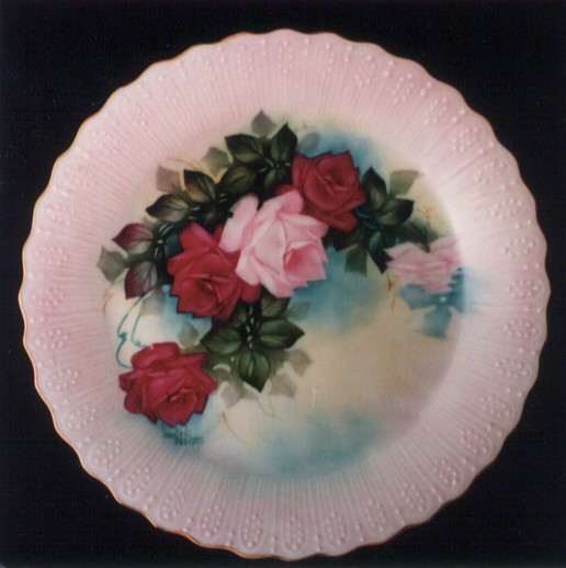 Roses Plate Painted by Marlene Seevers