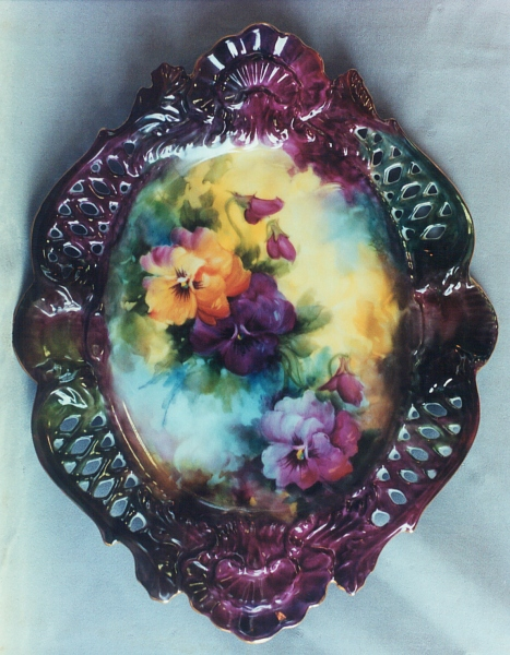 Pansies on Laced Oval Dish
